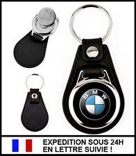 Porte-clé logo BMW en simili-cuir et métal avec jeton de caddie