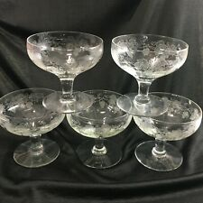 Cambridge Grape Etched Clear Champagne Coupe Saucer Glasses Set of 5 Vintage