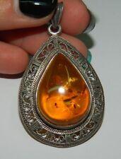Ciondolo a goccia in argento 925 con pietra Ambra degli Urali OMA19