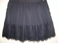 TOKITO black SKIRT size 8 wide lace band on hem , lined , zip up work evening