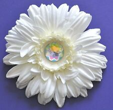 "4.5"" White Cream Gerbera Daisy Silk Flower Hair Clip Pinup Wedding Prom Bridal"