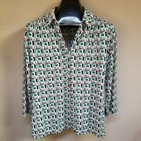 Alfani Women's Top Geometric-Print Button Up Shirt Blouse 3/4 Sleeve Size XL