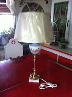 vtg Hand painted milk glass brass & marble base tall table Candlestick Lamp
