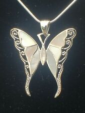 925 Sterling Silver Mother of Pearl Butterfly Pendant with Italian Snake Chain