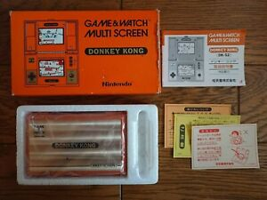 jNINTENDO GAME AND & WATCH Donkey Kong w/ BOX Manual Papers & Bag 1982 JAPAN