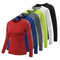 Women's Compression Long Sleeve Yoga Tight Tops Lady Gym Workout Shirt Tee Tops