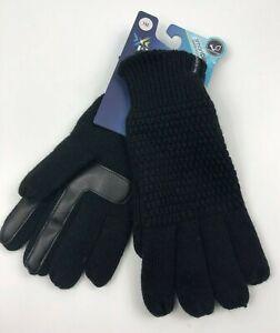 Isotoner Womens Black Knit Gloves Dri Smart Touch Fingertips Rain Rolls Off $40