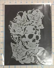 New Mylar airbrush stencil Skull with flower Rosary design  art graffiti craft