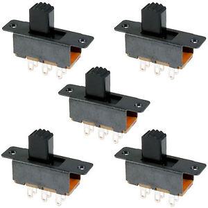 5 x Mini Miniature On/On 6 Pin Slide Switch DPDT
