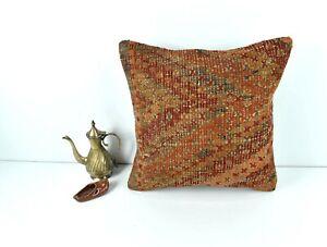 Kilim Pillow Cover 16x16 Oriental Traditional Handmade Bohemian Cushion A1613