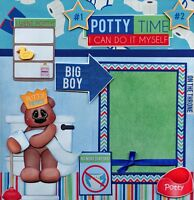 POTTY TRAINING ~ boy 2 premade scrapbook pages 12x12 layout paper piecing CHERRY
