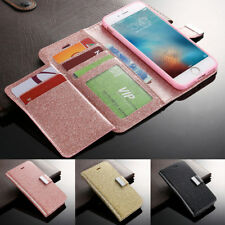 Luxury Glitter PU Leather Wallet Flip Stand Case Cover For iPhone Samsung Galaxy