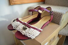 Axes Femme Bordeaux Talon Bobine Sandales Chaussures ~ L ~ UK 6 ~ Japon ~ Lolita