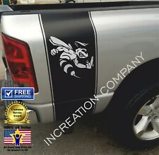 Truck Vinyl Stripes Rumble Bee With Middle Finger, Rear Bed Decals Stickers 4x4
