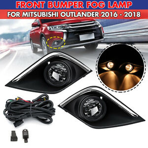 For Mitsubishi Outlander 16-19 Fog Lamp Light Cover Harness Switch Bulbs Kit DRL