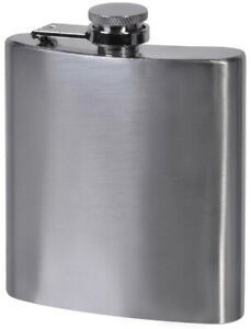 CLASSIC STAINLESS STEEL METAL SILVER ALCOHOL LIQUOR WINE WHISKEY HIP FLASK 180ml