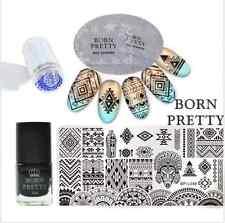 6Pcs Born Pretty Ethnic Nail Art Image Stamp Plates Polish W/Stamper Scraper Kit