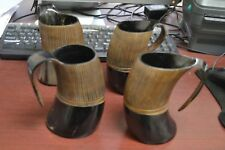 "4 Pcs Stripe Buffalo Horn Game Of Throne Medieval Drinking Ale Cup Mug 5"" #Yg"