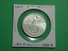 UNC German 🇩🇪 5 Mark Silver Coin Third Reich Large Swastika Reichsmark 1938-A