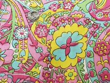 Vintage Cotton Fabric Quilt Sew Material Craft Groovy Psychedelic Flower Power