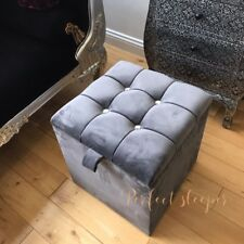 DRESSING TABLE STOOL BOX STORAGE IN STEEL GREY PLUSH CRYSTAL BRAND NEW