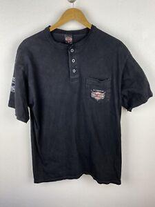 Vintage Harley Davidson 2000 Mens T Shirt Size XL Henley Collar Graphics Print
