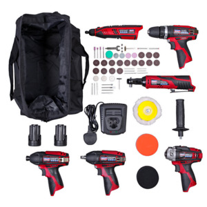 6x 12V Cordless Power Tool Kit Combo Hammer Drill Impact Wrench Rotary Tool + +