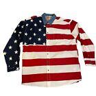 Roper Patriotic Stars Stripes American Flag Button Down Shirt Red White Blue 2XL