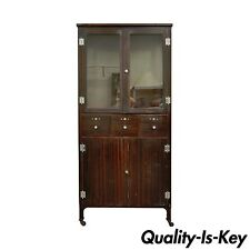 Antique Steel Metal Dental Cabinet Bathroom Storage Display Medical Industrial