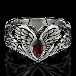Fashion Viking Ruby Rings Men Hip Hop Punk Stainless Steel Jewelry Ring Size 12