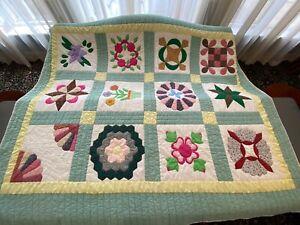 Antique Hand Stitched Quilt, Impeccable Beauty NOT Machine Sewn