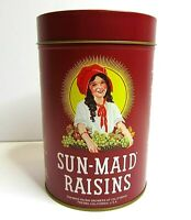 Vintage Sun Made Raisin Recipe Tin Canister Advertising