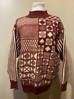 Vtg French Connection Wool Sweater Burgundy/Ivory/Red M Geometric Mock Turtlenec