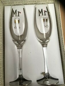 Mr and Mrs Wedding Bridal Champagne Flutes Glass
