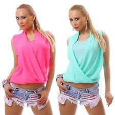 Ärmellose Damenblusen,-Tops & -Shirts im Blusen-Stil mit V-Ausschnitt und Polyester
