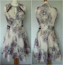 Miss Selfridge Fit & Flare Dress Size 10 Floral Lace Overlay Jacquard Effect