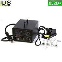 2in1 SMD 852D+ Soldering Iron Hot Air Rework Station 852d+ w/5 Tips LED Screen