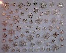 Navidad Uñas Stickers Calcomanías Decoración Metálico Plata Copos De Nieve (92sil)