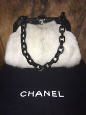 Authentic Chanel Rabbit (Lapin) and Leather Shoulder Handbag Ivory w/ Black