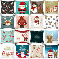 Christmas Cha Cover Sofa Pillow Cushion Snowflake Case Merry Decor Sweet Elk Bed