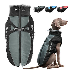 Waterproof Dog Coats for Large Dogs Winter With Zipper Warm Lined Jacket Clothes
