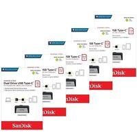 SanDisk Ultra16/32/64/128/256GB Dual USB 3.1 Type C Flash Drive Stick 130MB/s-UK