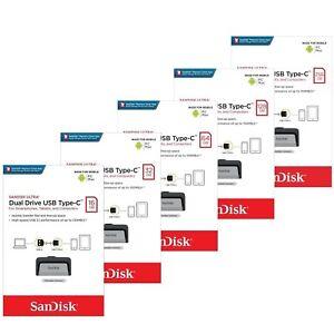 SanDisk Ultra16/32/64GB Dual USB 3.1 Type C Flash Drive  Memory Stick 130MB/s-UK