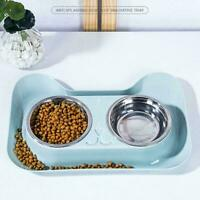 Steel Feeder Dog Cat Double Feeding Bowls Pet Food Hot Bowl Dish P2L0