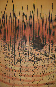 "SHIRO KASAMATSU woodblock print # 90/100 ""SHADOWS ON THE WAVES"" 1956"