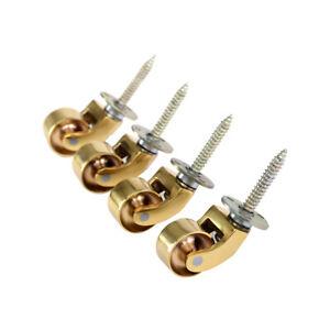 """4x Solid Polished Brass Castors 1"""" (25mm) screw plate furniture castor"""