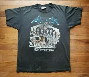 Vintage Anthrax State of Euphoria Mtv Headbangers Ball Road to Euphoria T-Shirt