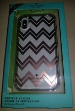 NEW  Kate Spade IPhone X Protective Hardshell Case  Chevron Rose Gold /Clear