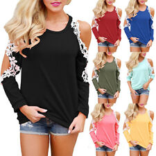 UK Womens Long Sleeve T-Shirt Blouse Ladies Casual Lace Cold Shoulder Floral Top