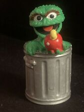 Sesame Street Oscar the Grouch Trash Can Apple PVC Toy Figure Figurine Set